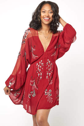 Free People Bonjour Embroidered Mini Dress