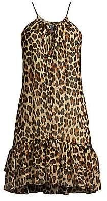Caroline Constas Women's Isla Leopard Mini Halter Shift Dress