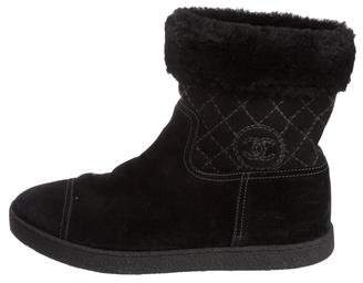 Chanel CC Shearling Boots