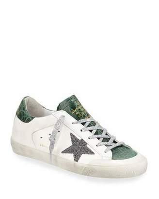 Golden Goose Superstar Crystal Crocodile Low-Top Sneakers