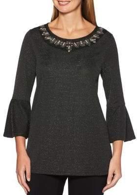 Rafaella Embellished Bell-Sleeve Top