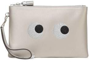 2417854036 COM · Anya Hindmarch Metallic Leather-Trimmed Glittered Satin Pouch