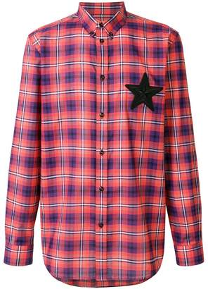 Givenchy star patch checked shirt