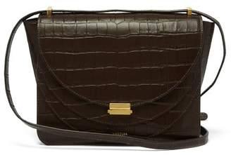 Wandler - Luna Crocodile Effect Leather Cross Body Bag - Womens - Dark Brown