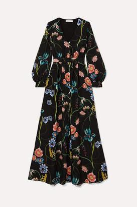Borgo de Nor Francesca Floral-print Crepe De Chine Maxi Dress - Black