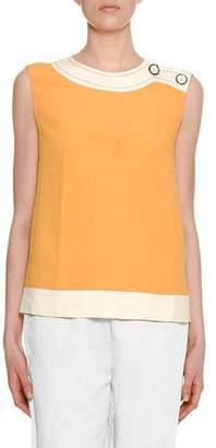 Marni Sleeveless Two-Tone Silk Woven Blouse w/ Shoulder-Button Detail