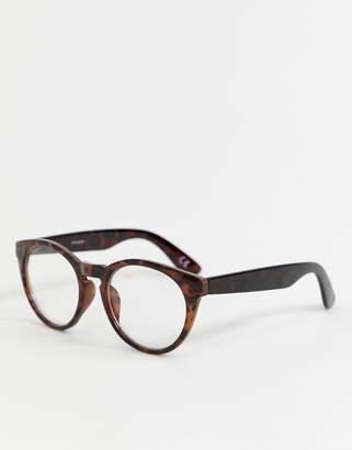 clear Asos Design ASOS DESIGN round glasses in tort with lens