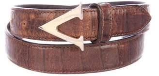 Valentino Alligator Buckle Belt