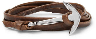 Miansai Anchor Leather And Silver-Plated Wrap Bracelet