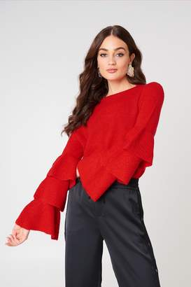 NA-KD Flounce Sleeve Knitted Sweater
