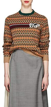 Prada Women's Dot & Chevron-Pattern Wool-Cashmere Sweater