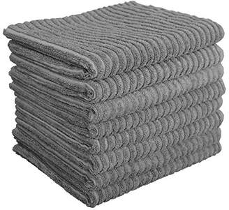 Gryeer Bamboo and Microfiber Kitchen Towels - Super Absorbent Dish Towels - One Side Ribbed One Side Smooth Tea Towels