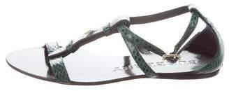 Burberry Snakeskin T-Strap Sandals