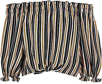 River Island Girls navy stripe bardot tie front crop top
