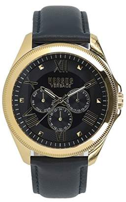Versus By Versace Women's 'Elmont' Quartz Gold-Tone and Leather Fashion Watch