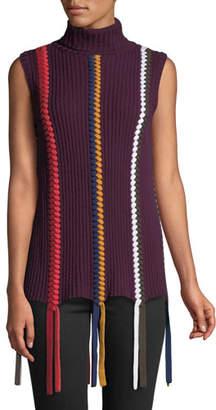 Derek Lam 10 Crosby Sleeveless Turtleneck Sweater with Braided Details