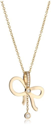 "Ivanka Trump Bow"" Pendant Necklace with Diamond Drop and Rose Gold Chain"