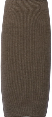 James Perse - Ribbed Stretch Cotton-blend Skirt - Army green $195 thestylecure.com