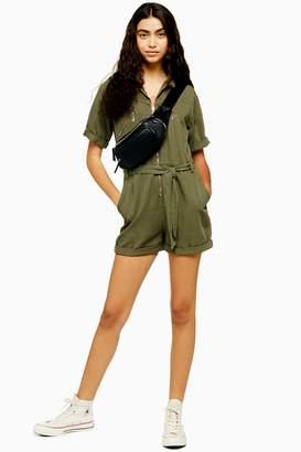 Topshop Womens Khaki Utility Playsuit - Khaki