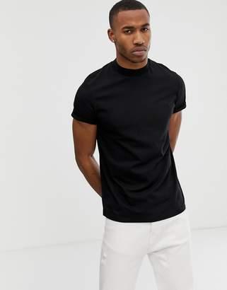 Asos DESIGN short sleeve t-shirt with roll sleeve & turtleneck in black