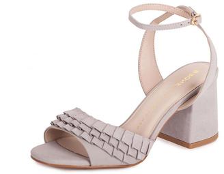 Bronx Grey Suede Heeled Sandals $274 thestylecure.com
