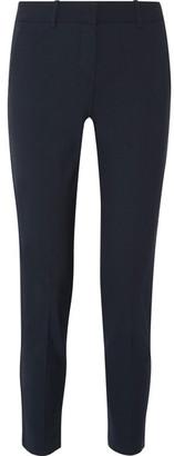 Theory - Testra Wool-blend Crepe Slim-leg Pants - Midnight blue $295 thestylecure.com