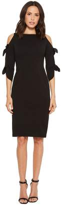 Donna Morgan Crepe Midi Long Sleeve with Tie Detail Women's Dress
