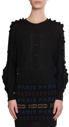 Kenzo Short Button-Front Wool/Silk Ruffle Cardigan