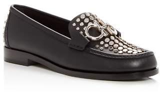 Salvatore Ferragamo Women's Rolo Studded Leather Moc Toe Loafers