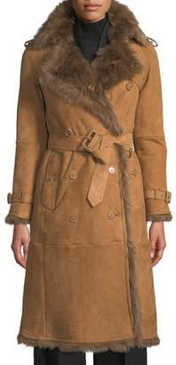Burberry Tolladine Shearling-Trim Suede Trench Coat