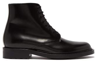 Saint Laurent Lace Up Leather Army Boots - Womens - Black