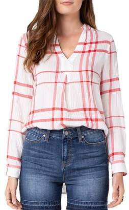 Liverpool Los Angeles Liverpool Plaid Popover Top