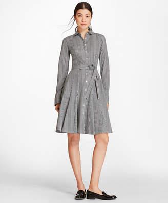 Brooks Brothers Checked Cotton Poplin Godet Shirt Dress