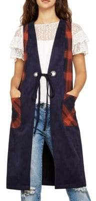 BCBGeneration Plaid-Trimmed Long Faux Suede Vest