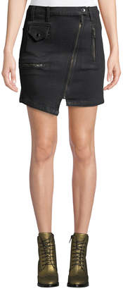 Hudson High-Rise Asymmetric-Zip Moto Skirt