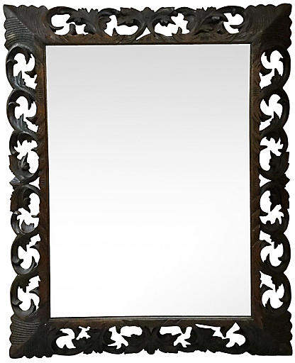 One Kings Lane Vintage Large Carved Wood Mirror - majolicadream