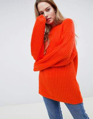 Asos DESIGN chunky sweater in rib with crew neck