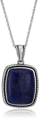 Lapis Sterling Silver Rope Rectangle Pendant Necklace
