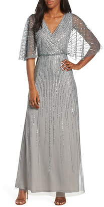 Adrianna Papell Sequin Stripe Mesh Evening Dress
