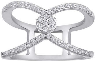 FINE JEWELRY diamond blossom 1/4 CT. T.W. Diamond Sterling Silver Floating Ring