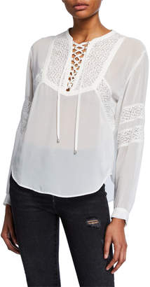 The Kooples Lace-Up Lace Detail Sheer Blouse