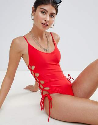 Missguided High Leg Lace Up Swimsuit