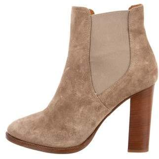 Ralph Lauren Purple Label Suede Round-Toe Ankle Boots