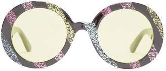 Gucci Round-frame glitter acetate sunglasses