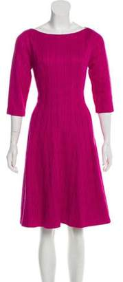 Lela Rose Scoop Neck Bodice Dress Fuchsia Scoop Neck Bodice Dress