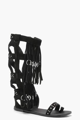 boohoo Studded Fringed Suede Gladiator Sandals