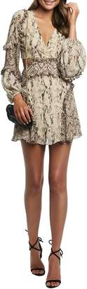 Bardot Snakeskin Print Cut-Out Mini Dress