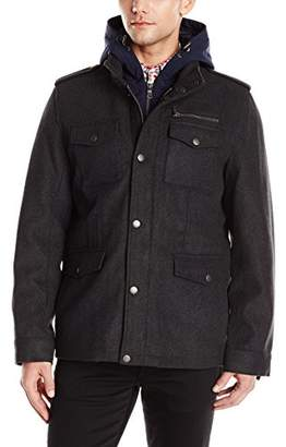 Tommy Hilfiger Men's Wool Blend Four Pocket Military Jacket with Soft Shell Hood