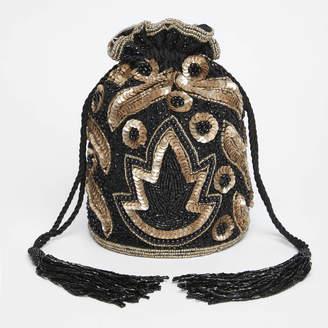Gatsbylady London Vegas Art Deco Embellished Bucket Bag In Black Gold