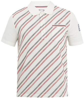 Moncler Geometric Embroidered Cotton Polo Shirt - Mens - White Multi
